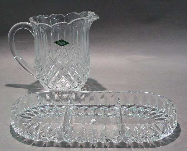 1114: Gorham Crystal Althea Collection Relish Dish