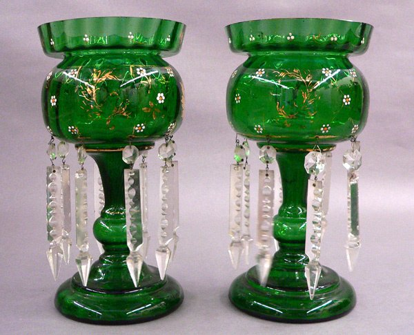 1120: Pair Enameled and Gilded Lustres, Green