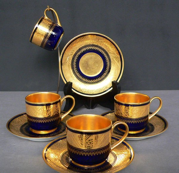 52: Set of 4 French Demitasse Cups and Saucers