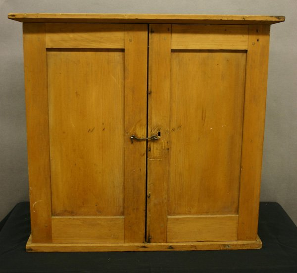 53: 18th C. Two Drawer Pine Hanging Cupboard.