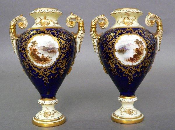 60: Two Porcelain Coalport Urns