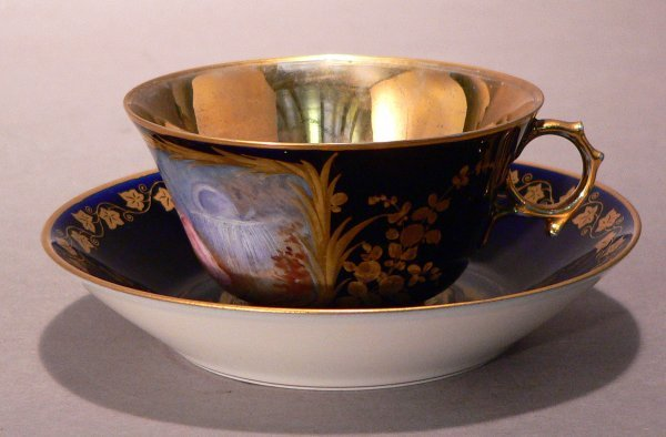 68: A Cup and Saucer marked Sevres