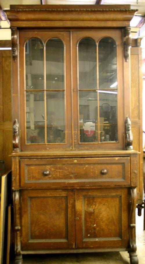 65: Victorian Walnut Secretary Bookcase.