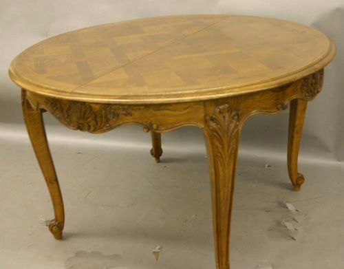 94: French Parquetry Oak Dining Table.