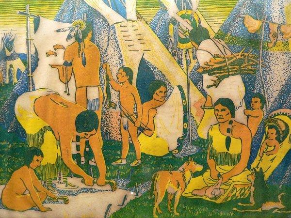 52A: WPA Color Woodblock Print, Native Americans