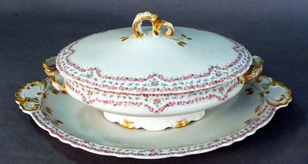 603: Limoges Covered Serving Dish and Undertray