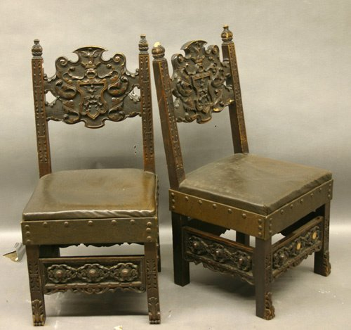 606: Pair of Carved Walnut Hall Chairs