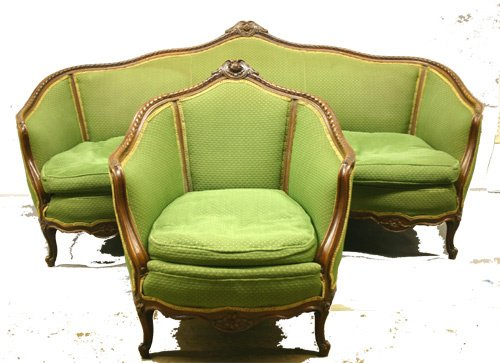 610: Carved Mahogany Sofa and Chair