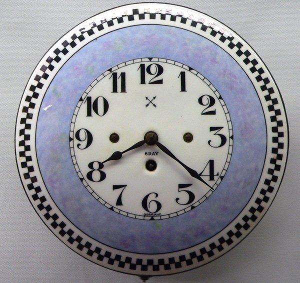 615: Enamelled Metal 8 Day Wall Clock
