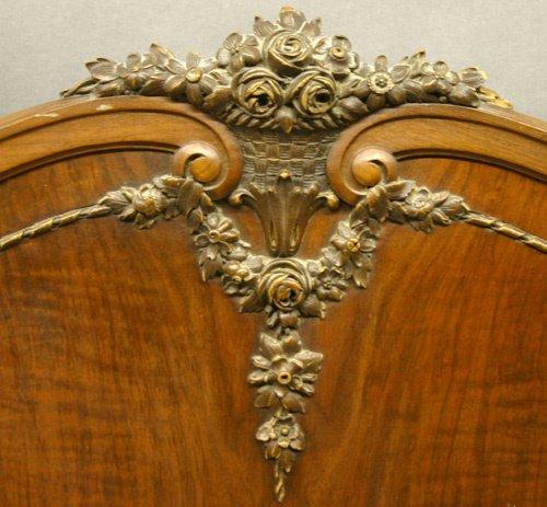 618: Carved Mahogany Headboard and Footboard