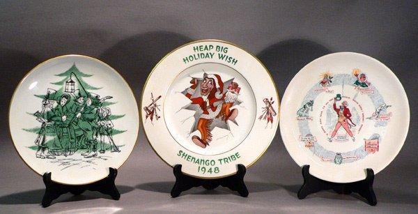 619: 3 Seasonal Plates, Shenango and Buffalo Pottery