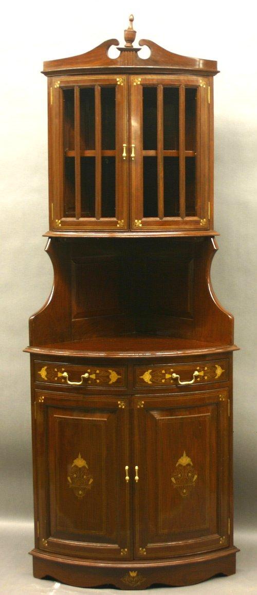642: Brass Inlaid Corner Cupboard