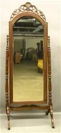 644: Mahogany Federal Style Cheval Mirror