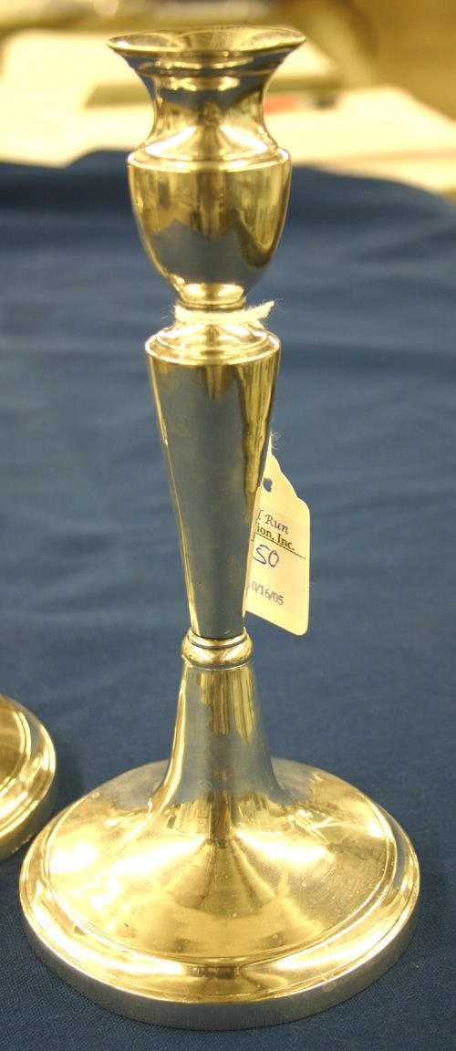 650: Pr. French Silver Candlesticks, ca. 1800-1815