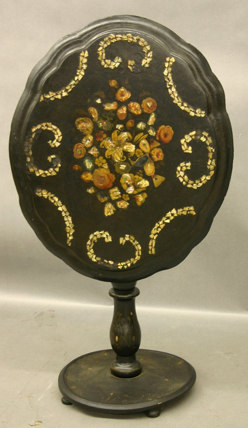 652: Early 19th C. Paper Machee Tilt Top Table.
