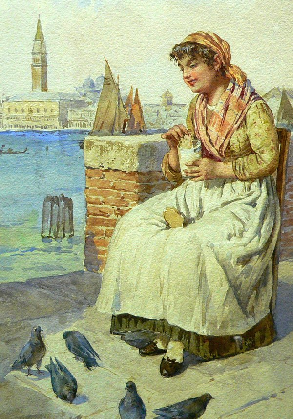 655: 19th C. Watercolor by Edouard Vitali