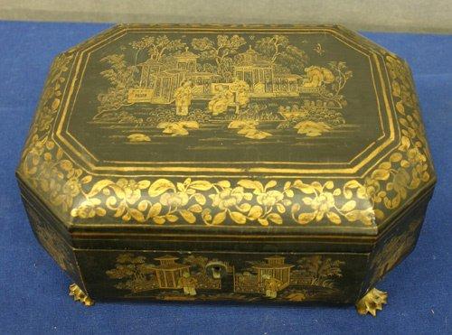 658: China Trade Black Lift Top Sewing Box.