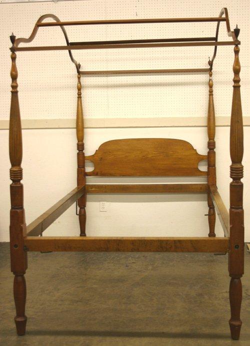 661: Fine Antique Sheraton Maple Canopy Bed.