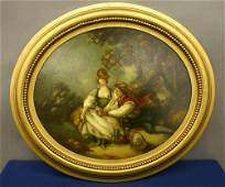 662 19th C Italian Oval Oil on Board