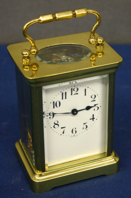 663: French Brass/Glass Carriage Clock.