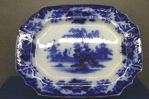 665: Large 19th C. Flo Blue Platter.