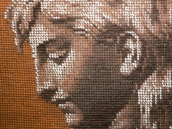 670: 19th C Glass Beadwork Firescreen Panel