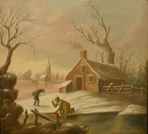 672: Early 19th C Oil on Canvas Winter Scene