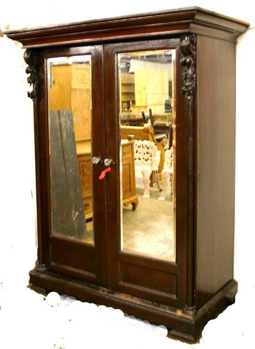 673: Classic Carved Mahog. Dbl. Mirror Door Armoir.