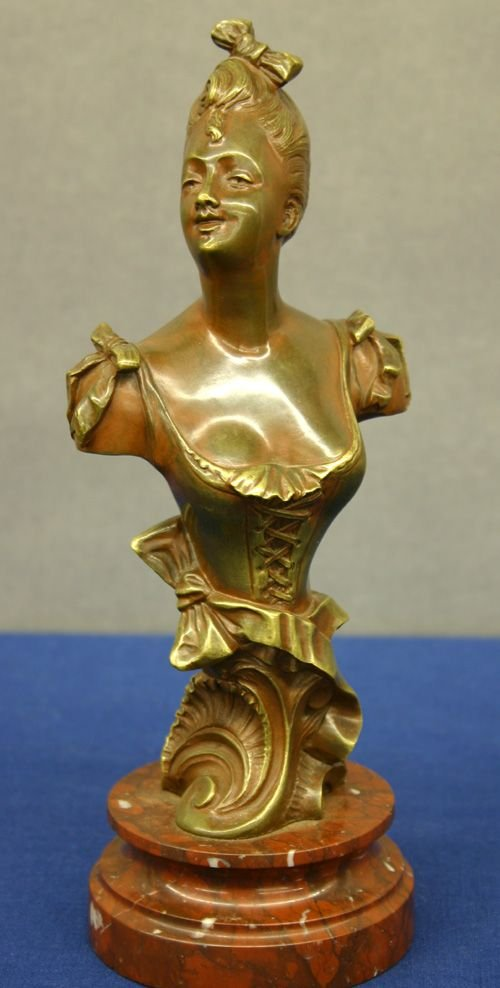 674: 19th C. French Bronze of a Woman by Charles Masse