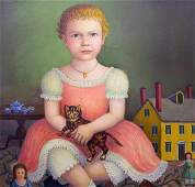 838: Oil on Canvas by Thomas Attardi, Girl with Dolls