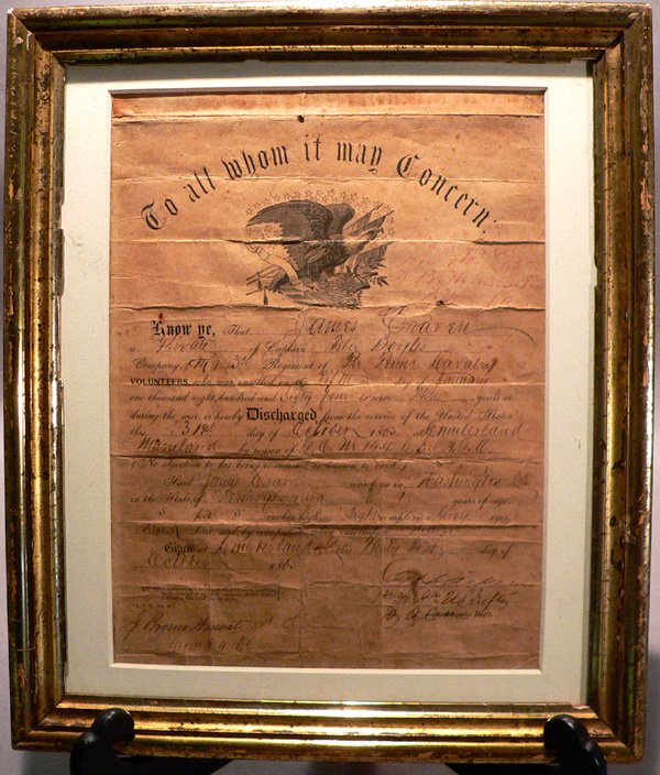 171: Civil War Discharge, 1865, PA Cavalry