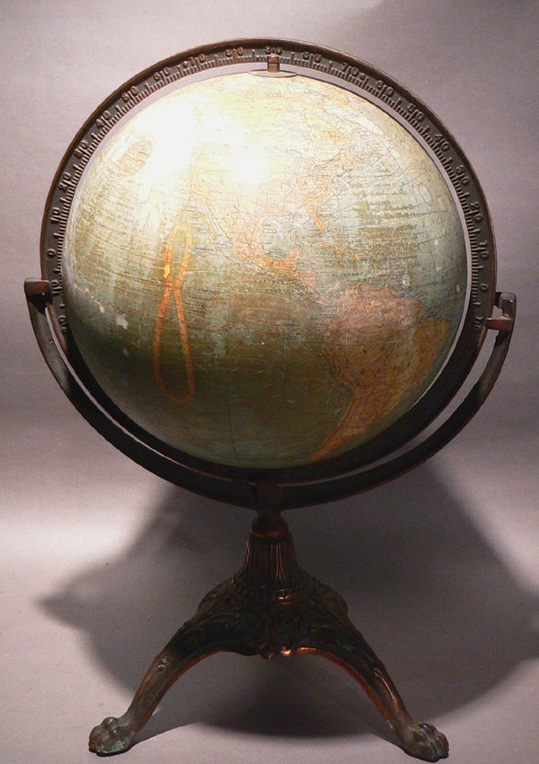 183: 19th C. 12 Inch Globe on Stand