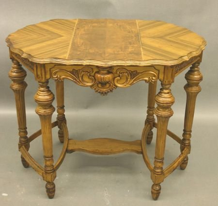 166: Antique Carved Walnut Parlor Table.