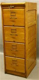 304: Golden Oak Period 4-Drawer File Cabinet.