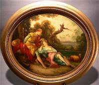 681 19th C Italian Oil on Board Courting Scene