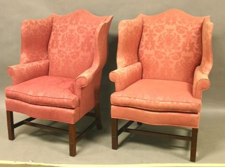 782: Pr. Chippendale Style Wing Chairs.