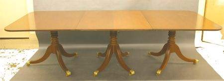 786: Kittinger Mahog. 3-Pedestal Banquet Table.