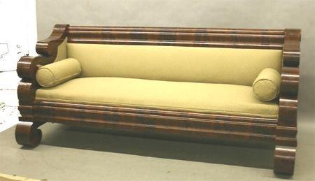 652: Classical Period Burl Walnut Sofa.