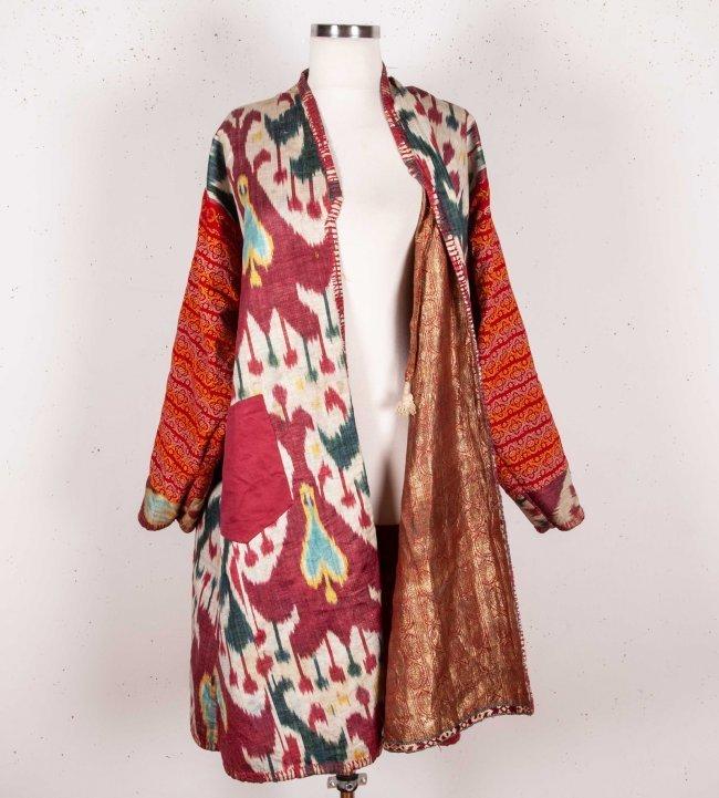 Uzbek Brocaded Chapan with Ikat Lining  19th c - 10