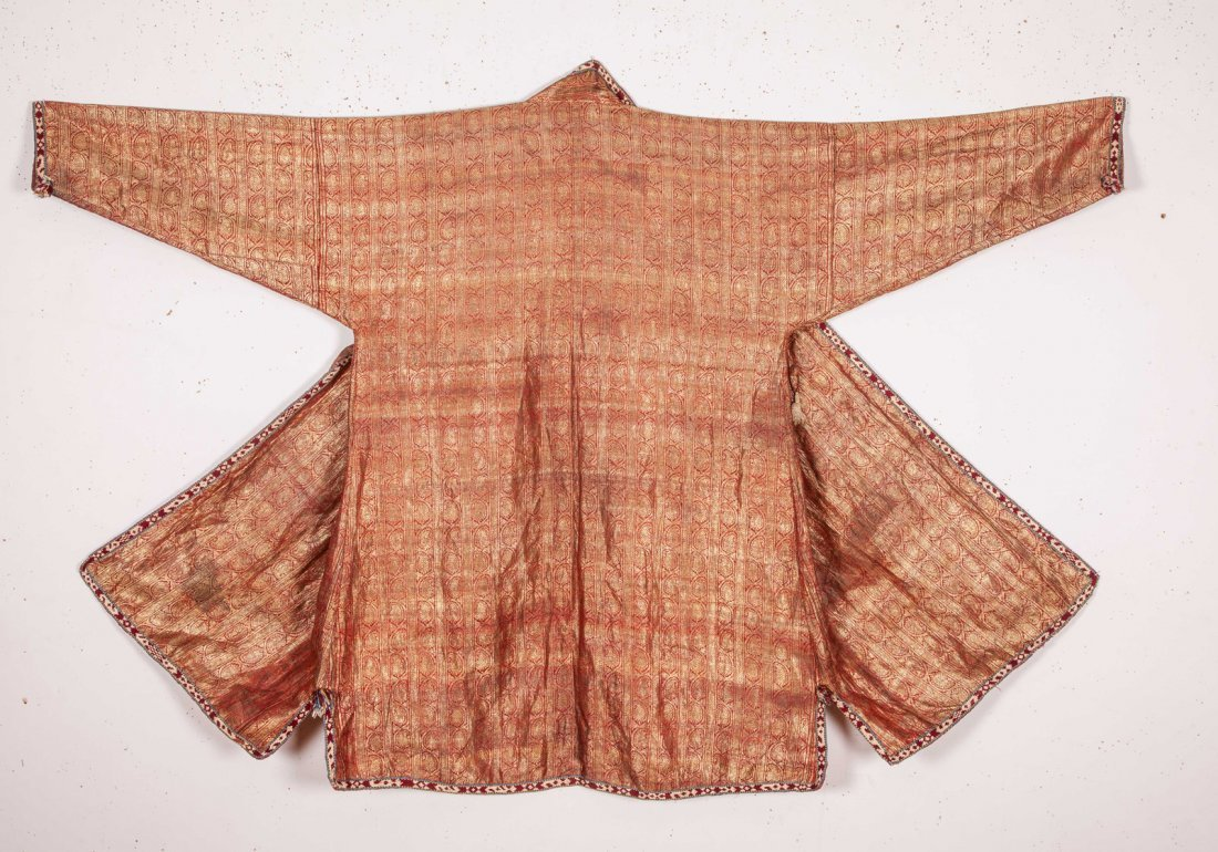 Uzbek Brocaded Chapan with Ikat Lining  19th c