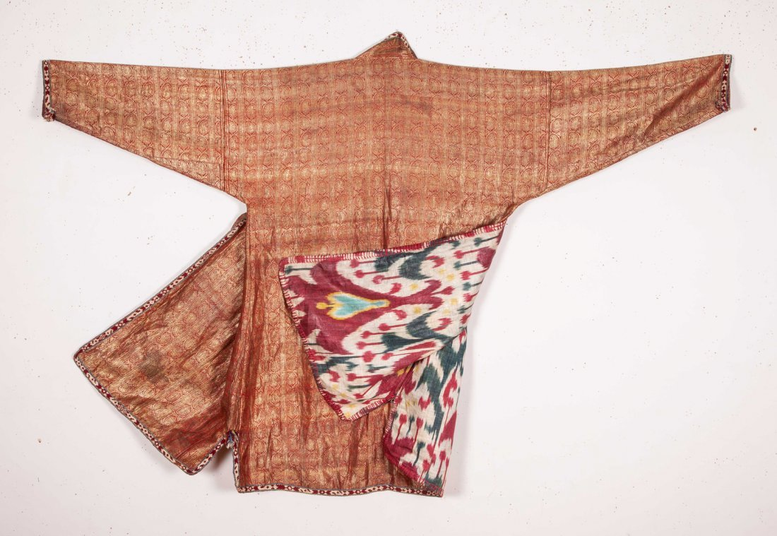 Uzbek Brocaded Chapan with Ikat Lining  19th c - 3
