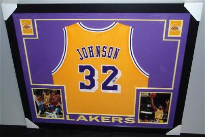 Magic Johnson signed Lakers custom Framed Jersey JSA
