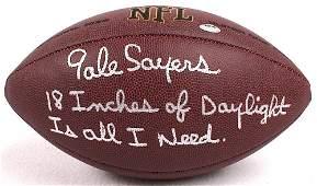 Gale Sayers signed football with rare inscription COA
