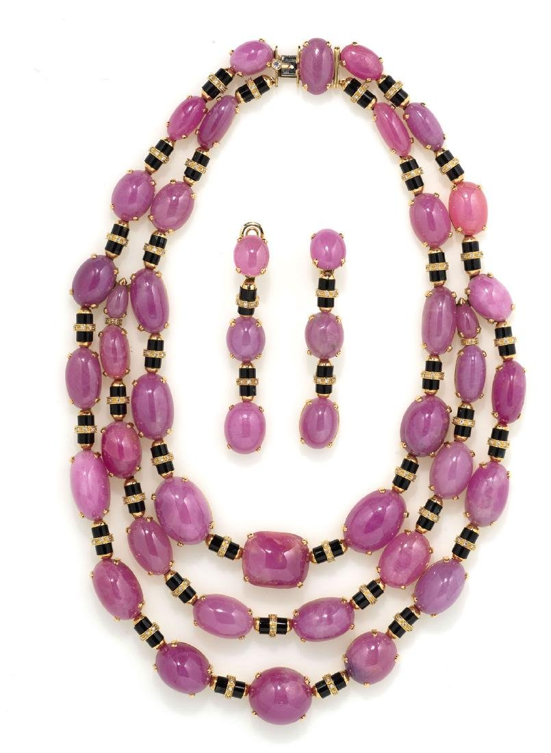 DEMI-PARURE: RUBIES, ONIX AND DIAMONDS NECKLACE AND