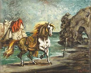GIORGIO DE CHIRICO (1888 - 1978) - Cavallo in riva al