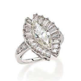 WHITE GOLD 18K RING WITH MARQUISE CUT DIAMOND CT 2,10
