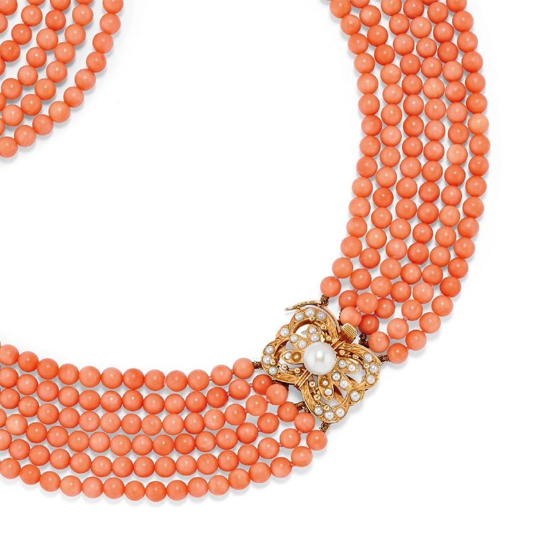 A 14k yellow gold, cultured pearl and coral necklace