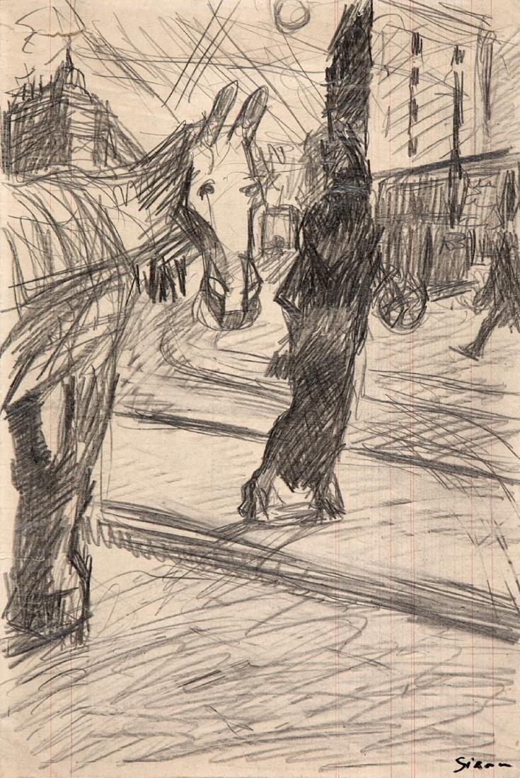 Sironi Mario - Paesaggio urbano con cavallo (around