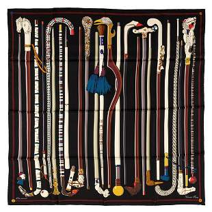 Hermès - Les Cannes Silk Twill scarf