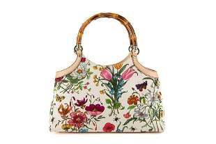 Gucci - Flora bamboo handbag